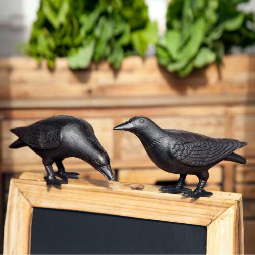 Cast Iron Crow Set of 2 Black Crows