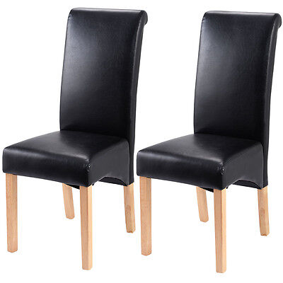 Set of 2 Leather Wood Contemporary Dining Chairs Elegant Design Home Room Black