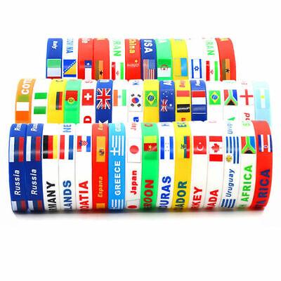 2pcs World Cup Country Flag Silicone Rubber Bracelet Sport Soccer Wristband Hot - Soccer Bracelet