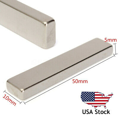 N50 Super Strong Long Block Bar Fridge Magnet 50x10x5mm Rare Earth Neodymium