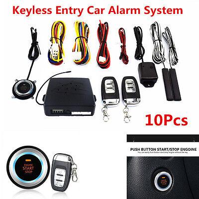 Universal 10Pcs Car Alarm System Keyless Entry Start Push Button Remote Starter
