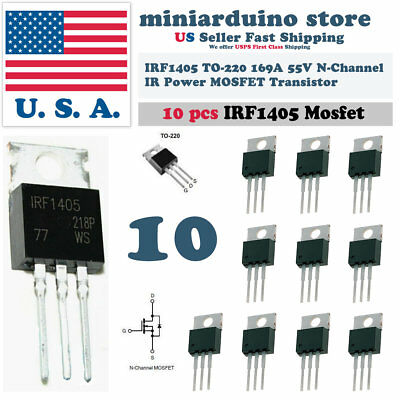 10pcs Irf1405 Irf 1405 Power Mosfet Transistor To-220ab Ir N Channel 55v 169a