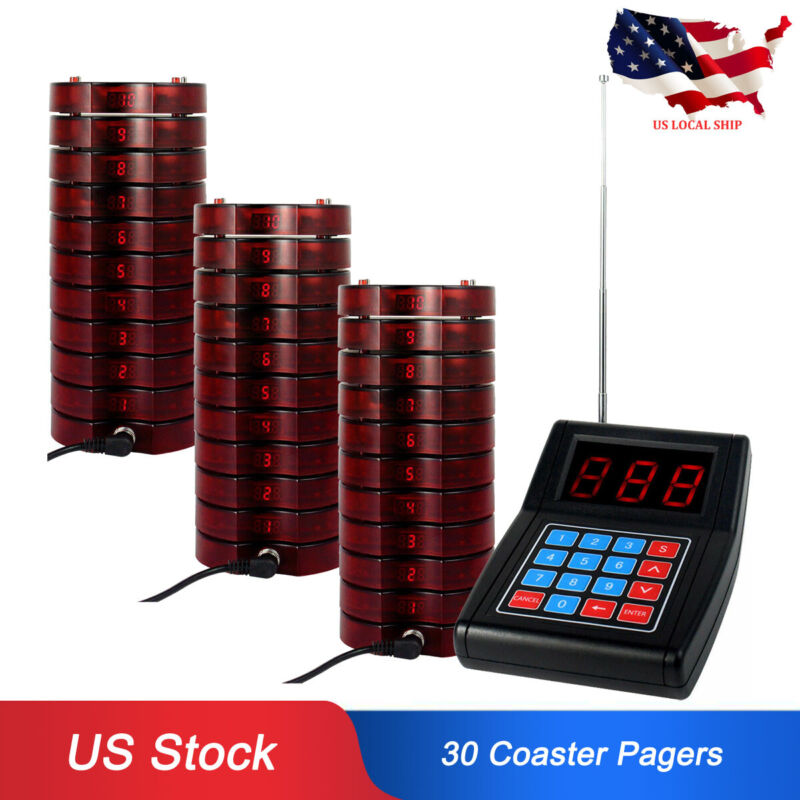 Retekess Restaurant Wireless Paging Queuing System 30*Coaster Pager 999CH USship