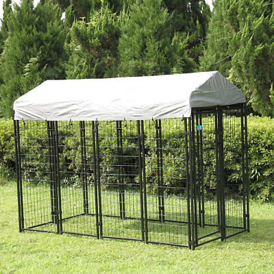 Outdoor Pet Cage Dog Kennel Steel Wire Large Pen Run House Covered Shade Shelter
