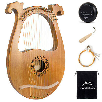 Aklot Lyre Harp Mahogany 16 String with Carry Bag Tuning Wrench String Pickup