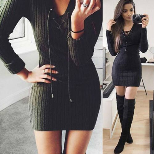 Women's Sexy Bandage Bodycon Long Sleeve Evening Party Cocktail Short Mini Dress