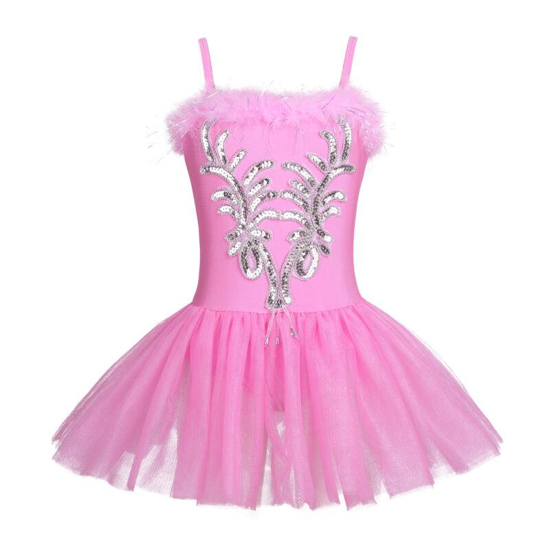 FEESHOW Girls Sparkle Beaded Swan Ballet Dress Costumes Dance Tutu Skirt Leotard Long Gloves Hair Clip Outfit