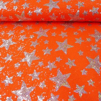 Faschingsstoff Pailletten Sterne orange silberfarbig 1,5m Breite (Orange Farbige Kostüme)
