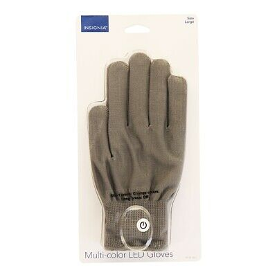 Insignia Multi-color LED Gloves with Lights - Large Size (NS-CFLGL-L) Gray - Gloves With Led Lights