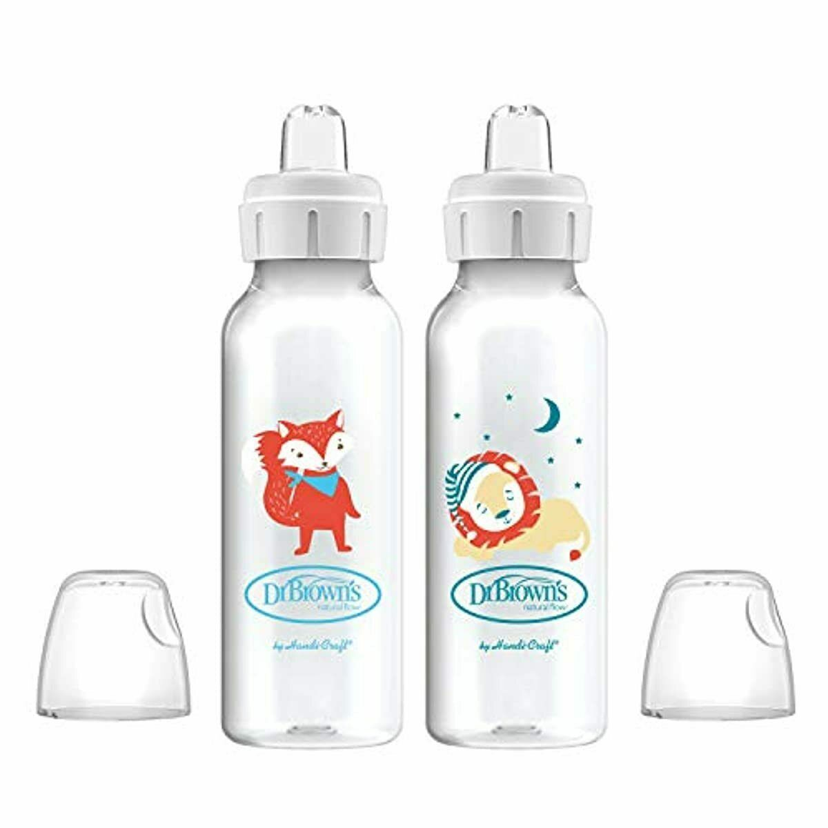 Dr. Brown's Options+ Sippy Spout Baby Bottles Fox & Lion 8 O