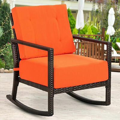 Patio Rattan Rocking Chair Rocker Armchair Outdoor Garden Furniture W/Cushions ()