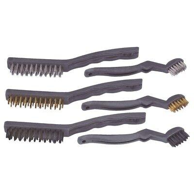 6p Car Detailing Brush Kit Metal Plastic Vehicle Auto Engine Bay Wheel Clean Set