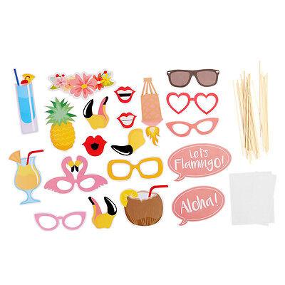 21pcs Flamingo Hawaii Themed Summer Beach Party Photo Booth Props Kit DIY Luau