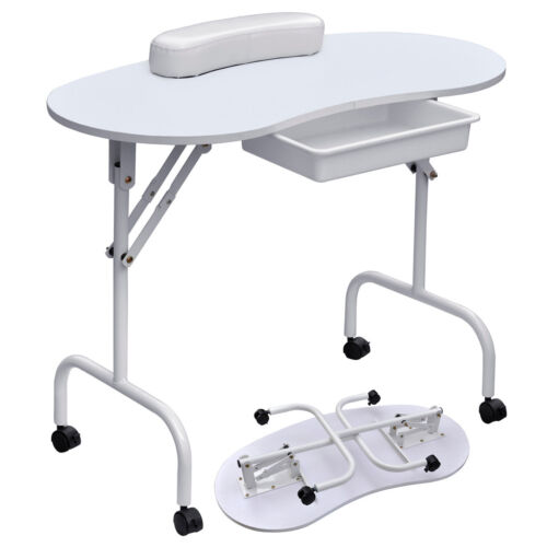 Large white portable manicure nail table station desk spa for A and m salon equipment