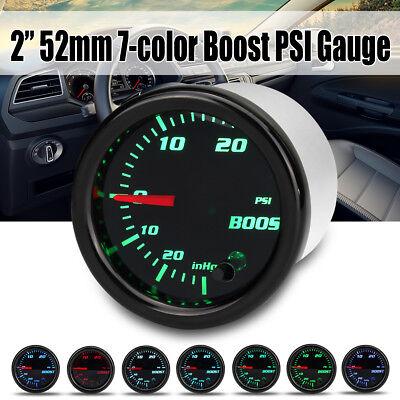 2'' 52mm 7 Color LED Car Turbo Boost 30PSI Pressure Vacuum Gauge Meter 12V Black for sale  Altadena