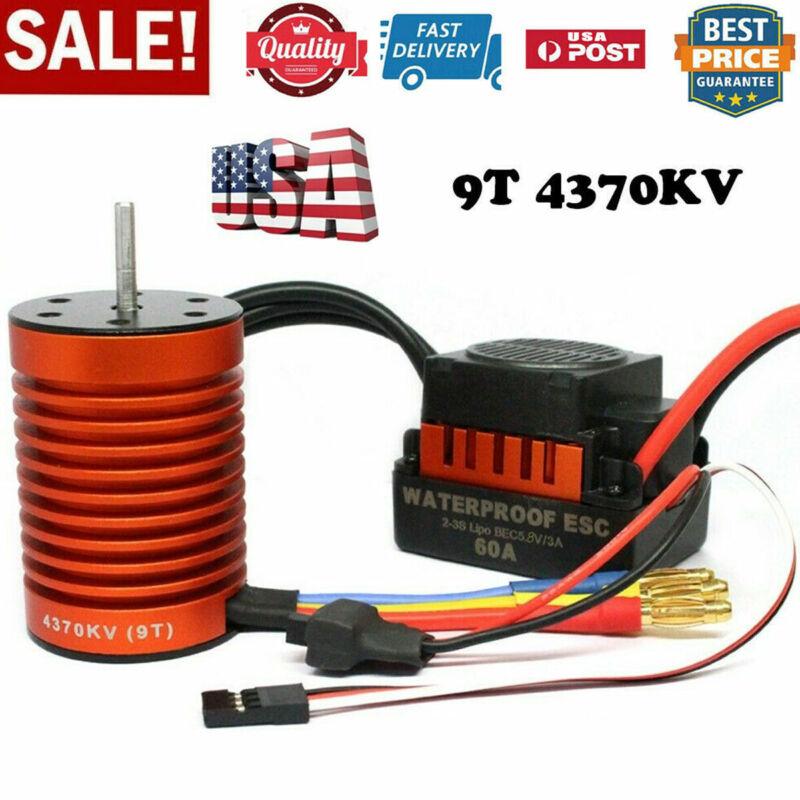 Car Parts - For 1/10 RC Car Parts 9T 4370KV Brushless Motor + 60A ESC Controller Combo Set