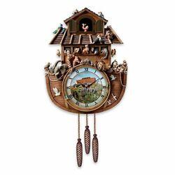 NEW RARE Bradford Exchange Noah's Ark Cuckoo Clock NIB