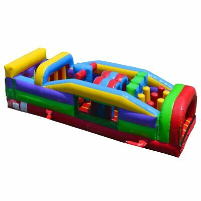30' 7 Element Retro Commercial Inflatable Obstacle Course Run Jump Slide Game