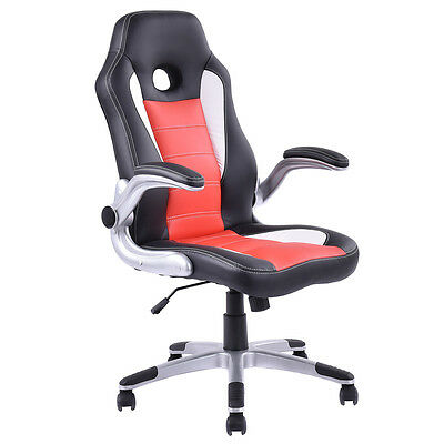 Executive Pu Leather Racing Style Bucket Seat Office Chair Desk Task Computer