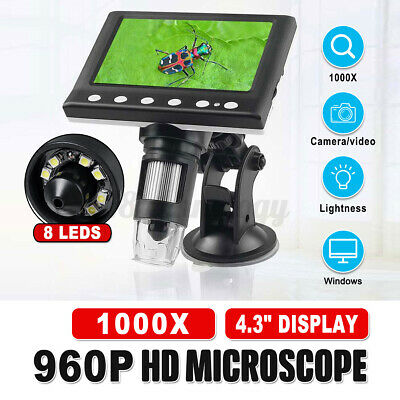 4.3 1000x Lcd Monitor Electronic Digital Video Microscope With 8 Led Magnifier