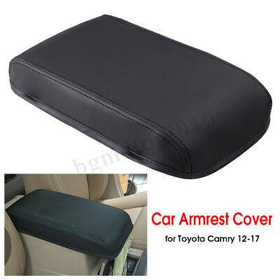 Black PU Leather Car Armrest Center Box Cover For Toyota Camry 2012- 2017 USA (Black Leather Armrest)