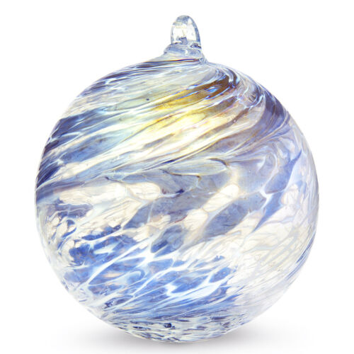 FRIENDSHIP BALL Handcrafted Blown Art Glass Steel Blue/White Ornament WitchBall