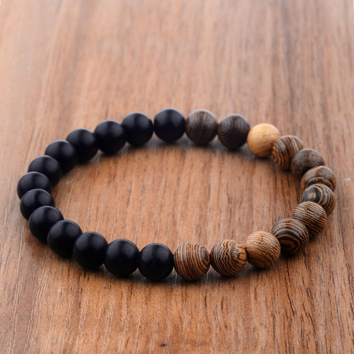 Wood beads + black natural stone