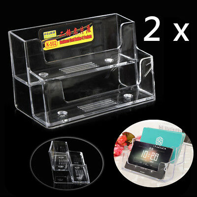 2 Pocket Acrylic Desktop Business Card Holder Clear Countertop Stand Display