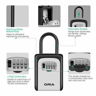 Oria 4-digital Combination Outdoor Safe Secure Key Lock Padlock Storage Case Box