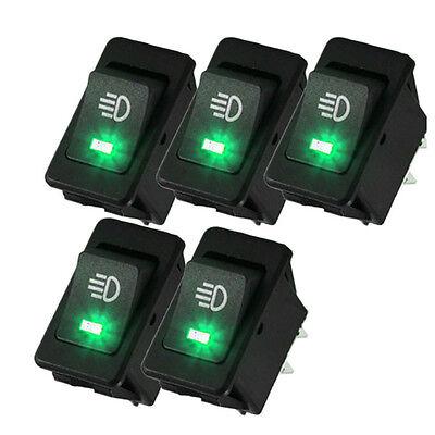 Hotsystem 5x 12v 35a Car Fog Light Rocker Switch 4pins Green Led Dash Dashboard