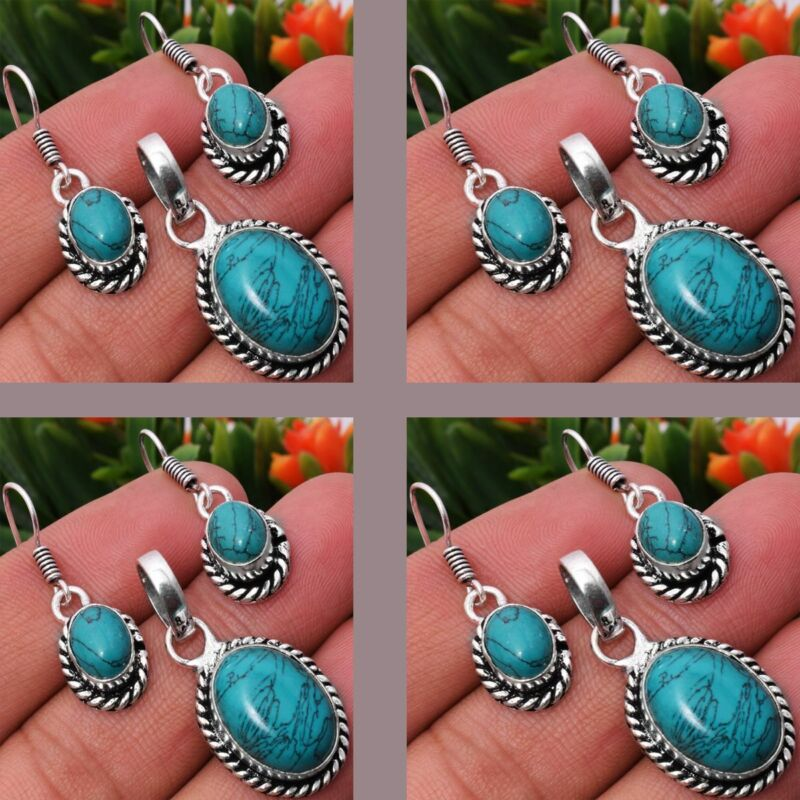 Turquoise 2pcs 925 Sterling Silver Plated Pendant Earring Sets Jewelry