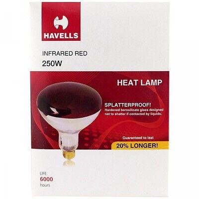 1- Red 250 Watt Heat Lamp Bulb Weatherproof Good For Baby Chicks Reptiles R40