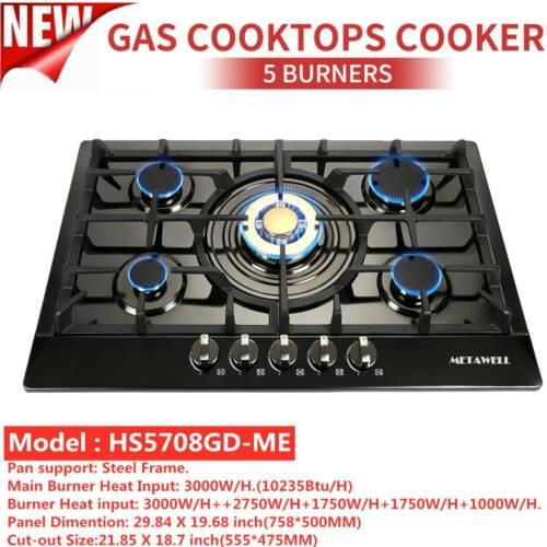 "30"" Built-in Cooktop 5 Burners Stove LPG/NG Gas Hob Cooker B"