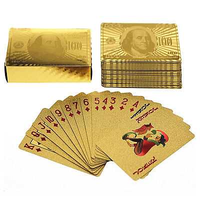 Waterproof Playing Cards (Waterproof Plastic Playing Cards Collection Gold Diamond Poker Cards Table Games )