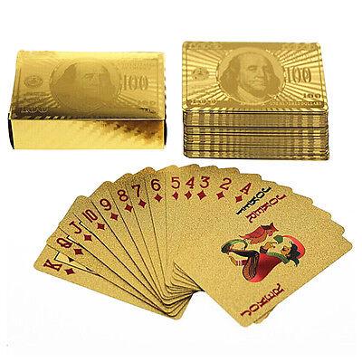 24K Full Of Poker Deck of Gold Foil Dollar Style Poker Plastic Playing Cards
