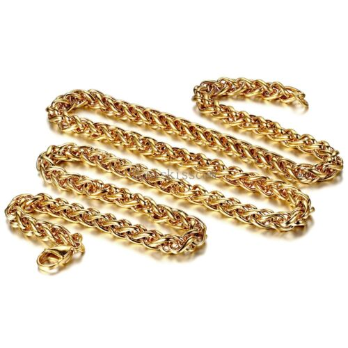 Gold Tone Stainless Steel Twisted Chain Necklace for Men Boy