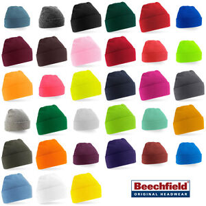 Supersoft-Beechfield-B45-Turn-Up-Beanie-Hat-26-colours-100-Acrylic-One-size