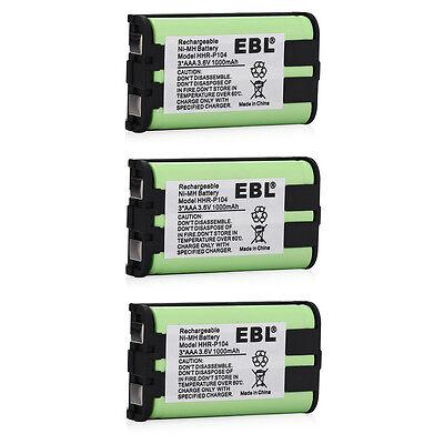 3x 1000mAh Cordless Phone Battery For Panasonic HHR-P104 HHRP104 Type 29 23968 ()