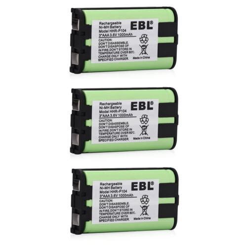3x 1000mAh Cordless Phone Battery For Panasonic HHR-P104 HHRP104 Type 29 23968