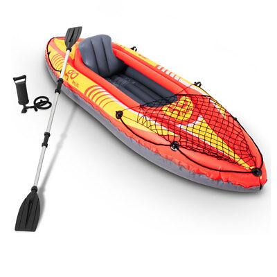 - Goplus 1-Person Inflatable Canoe Boat Kayak Set W/ Aluminum Alloy Oar Hand Pump