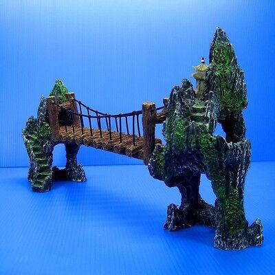 """Mountain Drawbridge Aquarium Decorations 14.7""""- Bridge Cave Hide Fish Tank Decor"""
