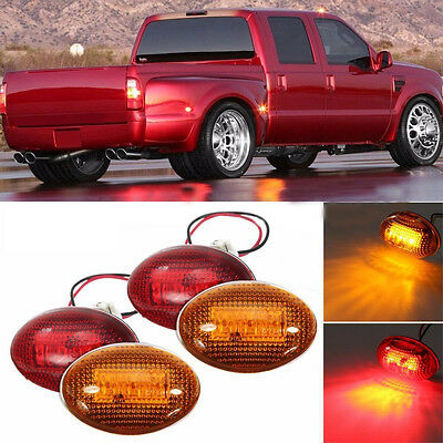 4x Side Fender Marker Dually Bed LED Light Kit Fit 99-10 Ford F350 Amber/Red Hot