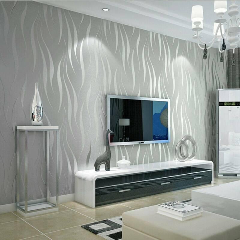 Modern Sliver Grey Stripes Embossed Non-woven Flocking Wallpaper TVBackground UK