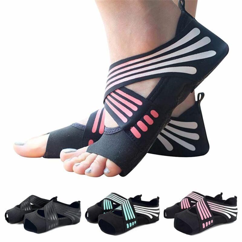 Yoga Socks Women Non-Slip Toeless Straps For Pilates Barre Ballet Dance Workout