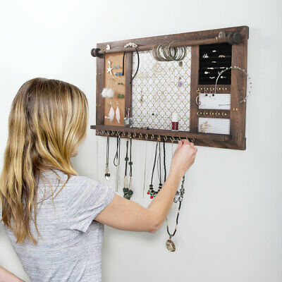 Hanging Rustic Wood Jewelry Organizer, Necklace Holder Storage Rack Wall Mounted