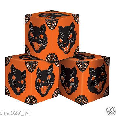 3 HALLOWEEN Favor Boxes Decoration BLACK CAT Vintage 1948 Beistle Reproduction - Halloween Favor Boxes