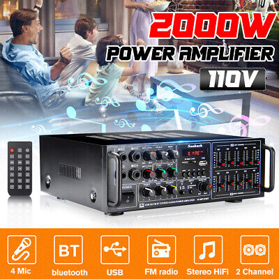 2000W bluetooth Stereo Power Amplifier 2 Channel Home Audio AMP Receiver EQ FM