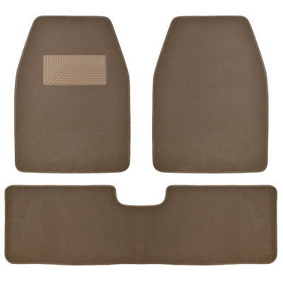 Set of 3 Car Floor Mat  2 Front 1 Rear Liner Dark Beige Carpet for Truck SUV Van Car Floor Mat Set Rug