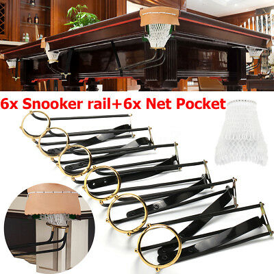6pcs Solid Standard Pool Billiard Table Snooker Empire Rail Net Pockets Set UK