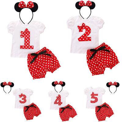 Baby Kleinkinder Mädchen 1. 2. 3. 4. 5. Geburtstag Minnie Kostüm Outfit Set